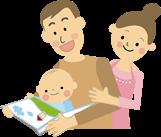 イラスト:赤ちゃんを抱いて絵本を見せているお父さんと、後ろから見ているお母さん。