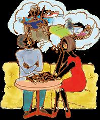 イラスト:ソファに座った男女が丸テーブルに本を広げて、島での暮らしを想像している。