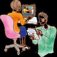 イラスト:机に座ってノートパソコンを見ている女性と、タブレットを触っている男性。