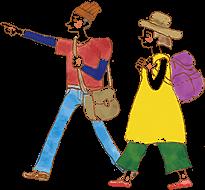 イラスト:肩からバッグをかけて前方を指差しながら歩いてる男性と、リュックを背負って歩いている女性。