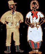 イラスト:作業服姿の男性と、飲食店の調理スタッフのような格好の女性。