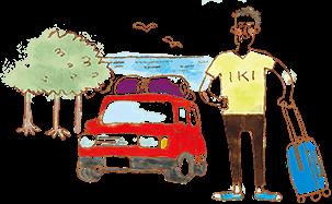 イラスト:荷物を屋根に載せた赤い車とm、キャリーバッグを持って立っている男性。