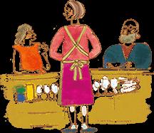 イラスト:飲食店でカウンターに座っている女性と、高齢の男性。間に女性スタッフが立って接客している。