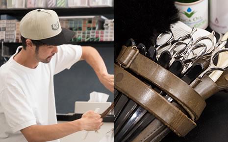 写真:左:ヘアカット中の濱口さん。右:濱口さんが愛用する商売道具のハサミ。