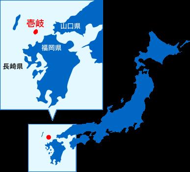 イラスト:日本地図 壱岐の場所が赤く示してある