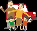 イラスト:赤い車の前に立っている家族