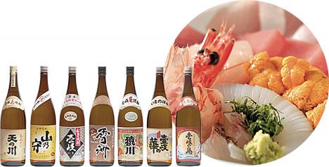 写真:壱岐の焼酎とエビやうになどの海産物